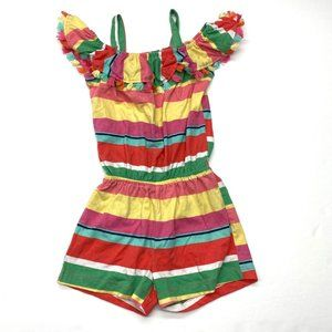 Children's Place Rainbow Striped Fringe Romper 3T